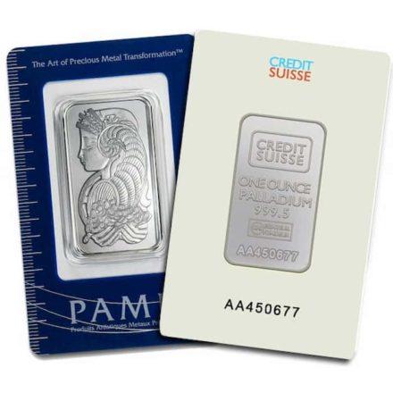 1 oz Palladium Bar In Assay Card