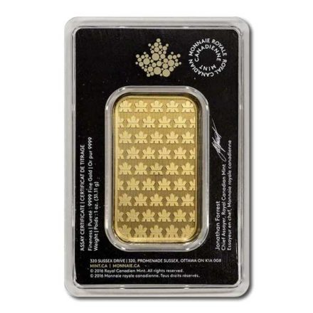 Royal Canadian Mint Gold 1 oz Bar Back