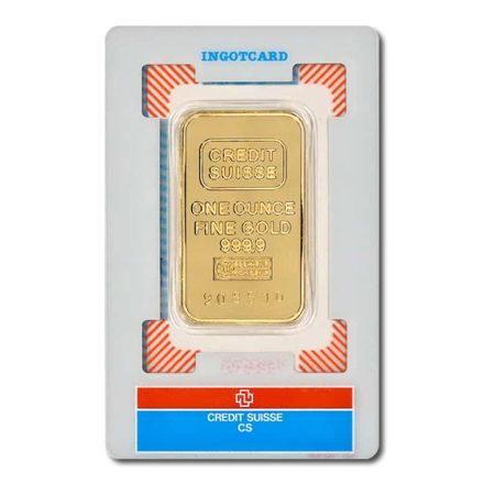 Credit Suisse Gold 1 oz Bar in Assay Card Back