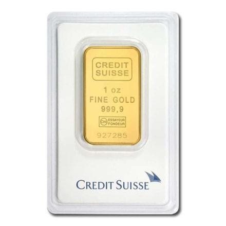 Credit Suisse Gold 1 oz Bar in Assay Card