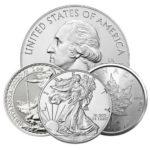 Silver Coins Eagles, Maples, Britannias