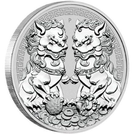 2020 Australian 1 oz Silver Double Lion Pixiu Coin Angle