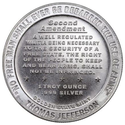 2nd Amendment 1 oz Silver Round Reverse