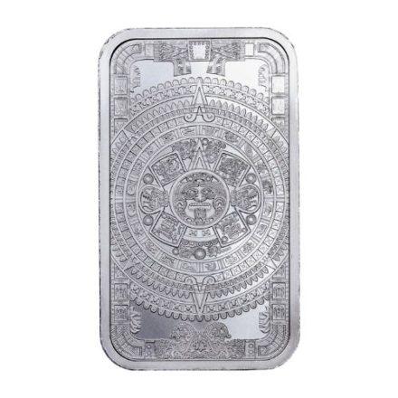 Aztec Calendar 1 oz Silver Bar Obverse