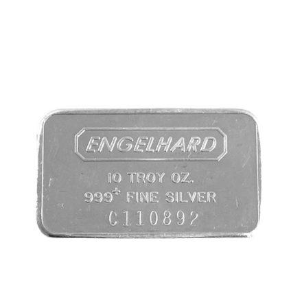 Engelhard 10 oz Silver Bar Wide Struck Front