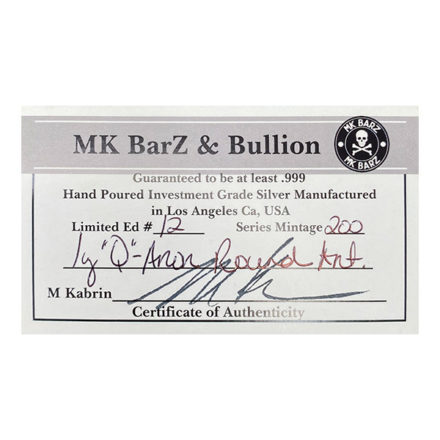 Q WWG1WGA 1 oz Silver Round Antiqued Certificate