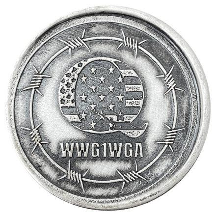 Q WWG1WGA 2 oz Silver Round Antiqued Obverse