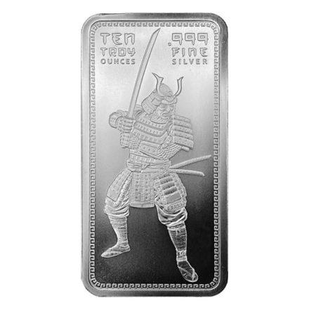 Samurai Warrior 10 oz Silver Bar Front