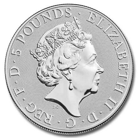 2021 British 2 oz Silver Queen's Beast Greyhound Coin Effigy