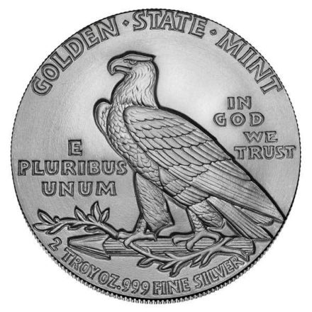 Incuse Indian 2 oz Silver Round Reverse
