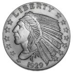 Incuse Indian 2 oz Silver Round Obverse