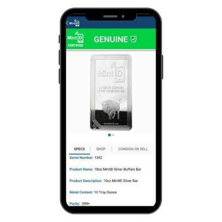 MintID Buffalo 10 oz Silver Bar Scanned in App