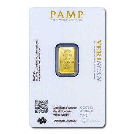 PAMP Fortuna 2.5 gram Gold Bar Back