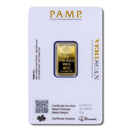PAMP Fortuna 5 gram Gold Bar Back