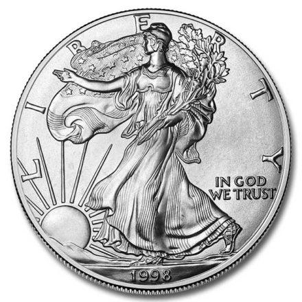 1998 1 oz American Silver Eagle Coin Obverse