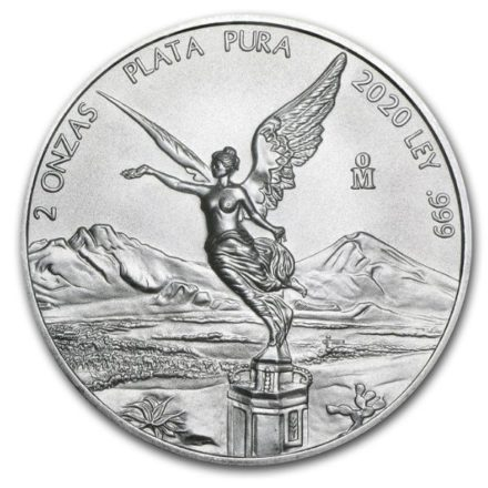 2020 2 oz Mexican Silver Libertad Coin Obverse