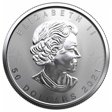 2021 1 oz Canadian Platinum Maple Leaf Coin Obverse