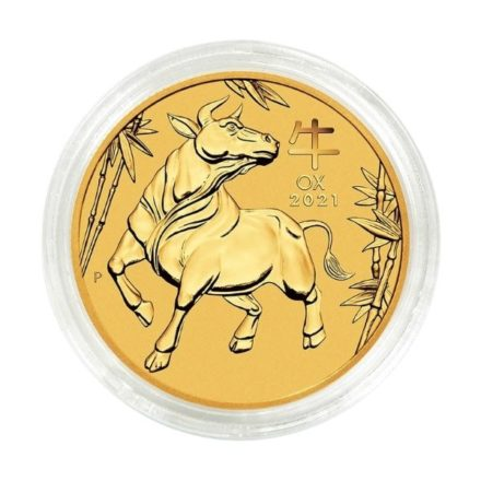 2021 1_4 oz Australian Gold Lunar Ox Coin in Capsule