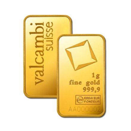 Valcambi 1 gram Gold Bar Front Back