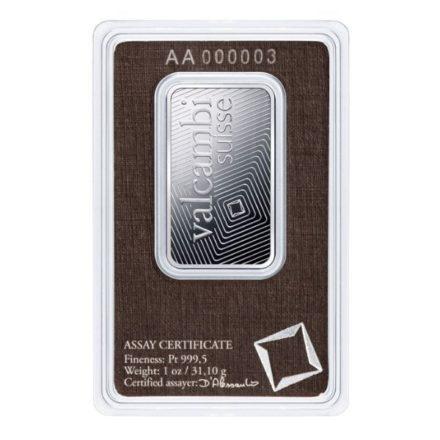 Valcambi 1 oz Platinum Bar Reverse