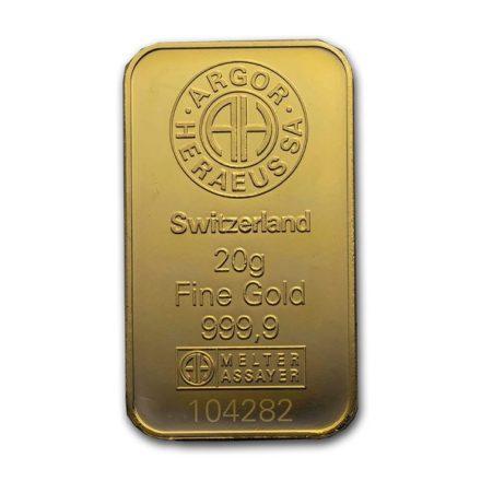 Argor-Heraeus 20 gram Gold Bar Detail