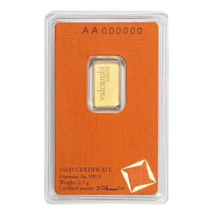 Valcambi 2.5 gram Gold Bar Serial Numbers