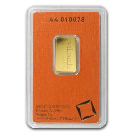 Valcambi 5 gram Gold Bar Reverse