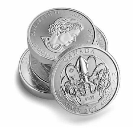 2020 2 oz Canadian Kraken Silver Coin