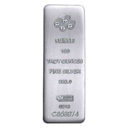 100 oz PAMP Suisse Silver Cast Bar Obverse