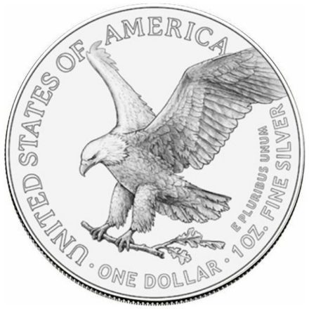 2021 1 oz American Silver Eagle Type 2 Reverse