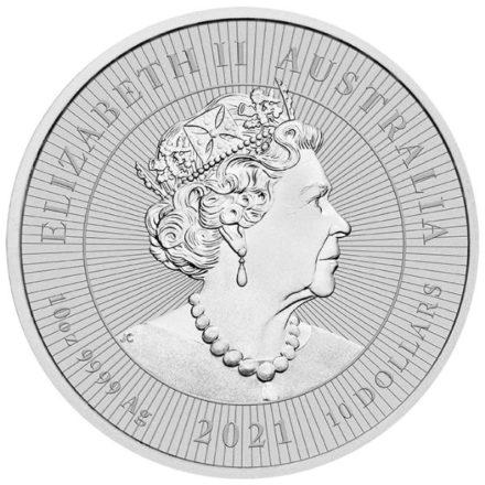 2021 Australian 10 oz SIlver Platypus Coin Reverse