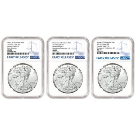 2021 American Silver Eagle 3-Coin Set NGC MS70 ER