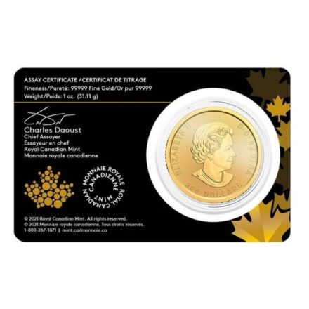 2021 1 oz Canadian Gold Klondike Coin Assay Card Obverse