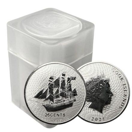 2021 Cook Islands 1/4 oz Silver HMS Bounty Coin Tube