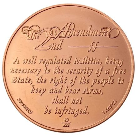 Heraldic Eagle 2nd Amendment 1 oz Copper Round Reverse