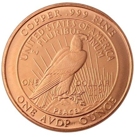 Peace Dollar 1 oz Copper Round Reverse