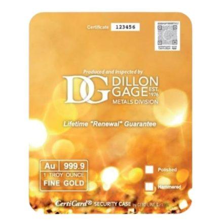 Smooth 1 oz Gold Bullion Bracelet in CertiCard™ Reverse