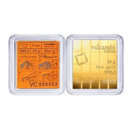 Valcambi 20 x 1 gram Gold CombiBar™ Reverse