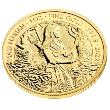 2022 1 oz British Maid Marian Gold Coin Angle