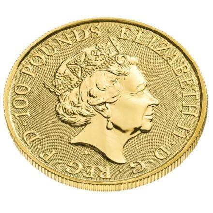 2022 1 oz British Maid Marian Gold Coin Effigy Angle