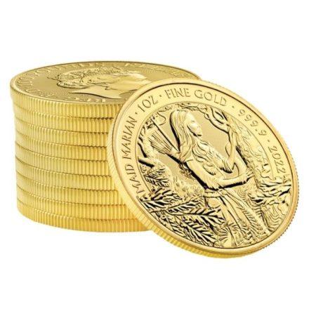 2022 1 oz British Maid Marian Gold Coin Stack 10