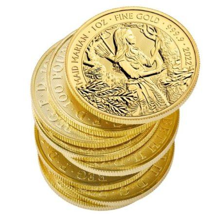 2022 1 oz British Maid Marian Gold Coin Stack