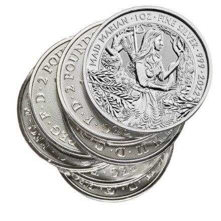 2022 1 oz British Maid Marian Silver Coin Stack