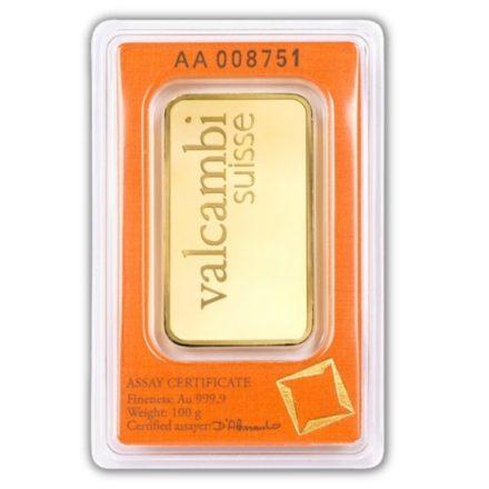 Valcambi 100 gram Gold Bar Serial Number